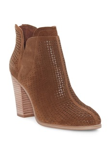 VINCE CAMUTO Women's Farrier Almond Toe Perforated Suede Booties