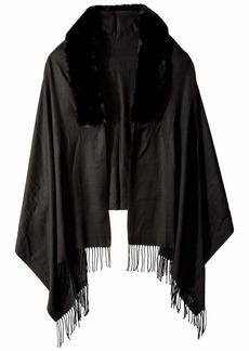 Vince Camuto Women's Faux Fur Trim Pashmina black