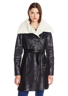 Vince Camuto Women's Faux Shearling Coat with Belt Black/Ivory
