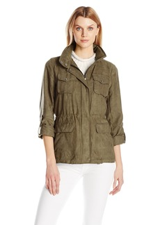 Vince Camuto Women's Faux Suede Button up Jacket with Cinch Waist