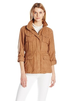 Vince Camuto Women's Faux Suede Button Up Jacket with Cinch Waist  Medium
