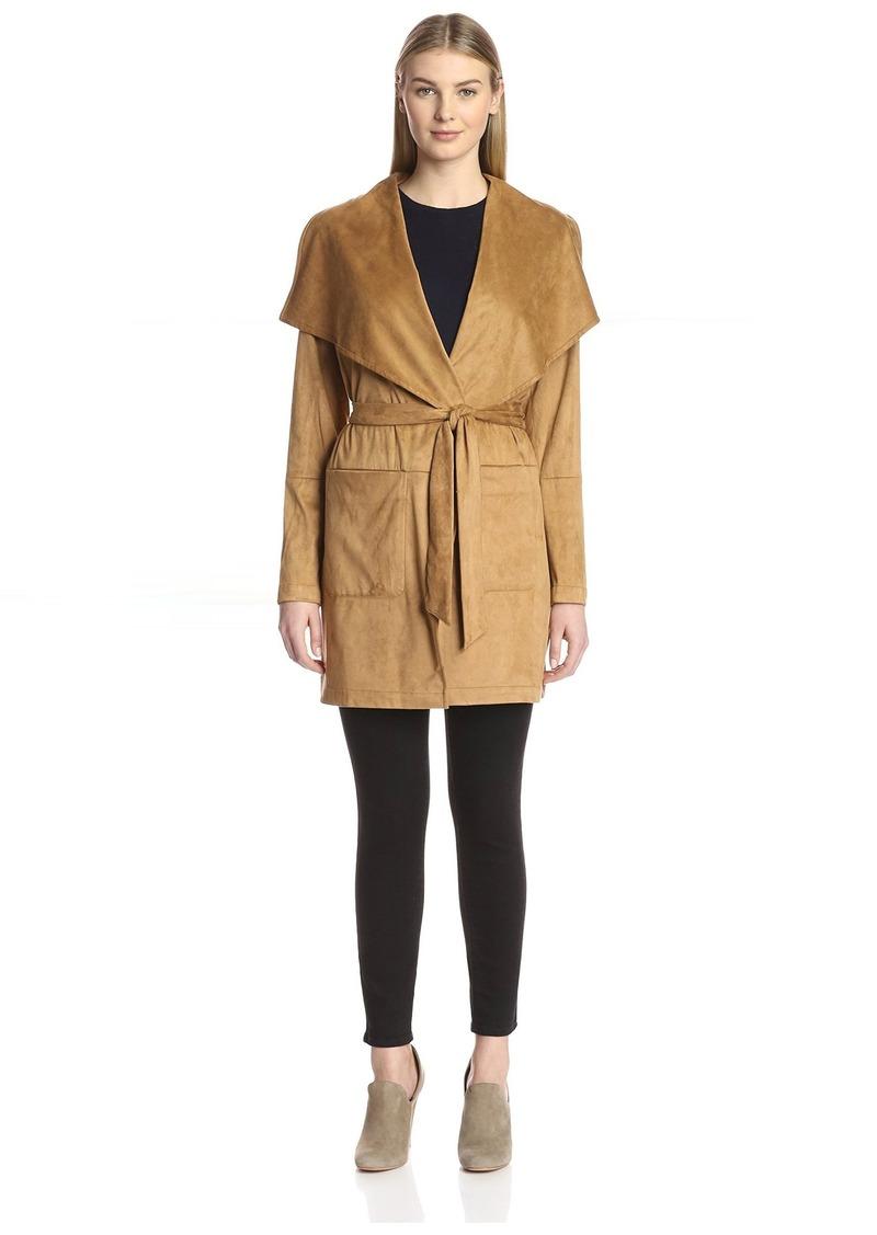 Vince Camuto Women's Faux Suede Wrap Coat  L