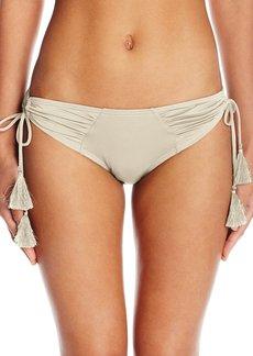 Vince Camuto Women's Fiji Solids Shirred Side Tie Cheeky Bikini Bottom  S