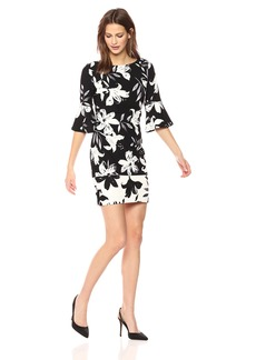 Vince Camuto Women's Flared Sleeve Bodycon Dress Black/Ivory