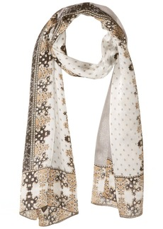 Vince Camuto Women's Floral Borders Oblong Scarf GREY