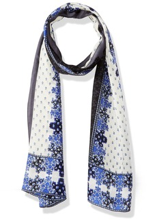 Vince Camuto Women's Floral Borders Oblong Scarf MARINE BLUE