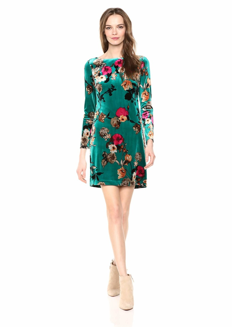 VINCE CAMUTO Women's Floral Patterned Velvet Shift Dress