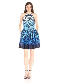 Vince Camuto Women's Floral Printed Fit-and-Flare Dress