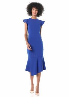 Vince Camuto Women's Flutter Sleeve Asymmetrical Hem Dress