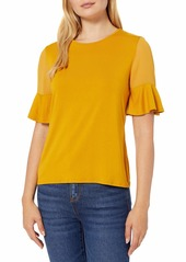 Vince Camuto Women's Flutter Sleeve Mix Media Top with Chiffon Inserts