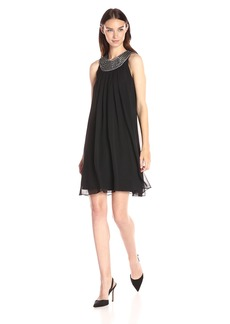 Vince Camuto Women's Flyaway Dress with Beaded Collar