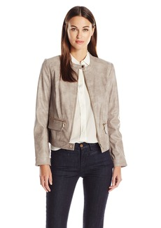 Vince Camuto Women's Front Zip Distressed Pleather Moto Jacket  L