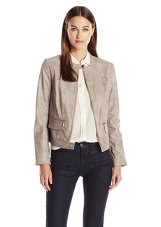 Vince Camuto Women's Front Zip Distressed Pleather Moto Jacket  S