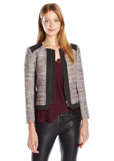 Vince Camuto Women's Front Zip Tweed Jacket