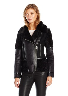 VINCE CAMUTO Women's Fur Shearling with Faux Leather Jacket  X-Small