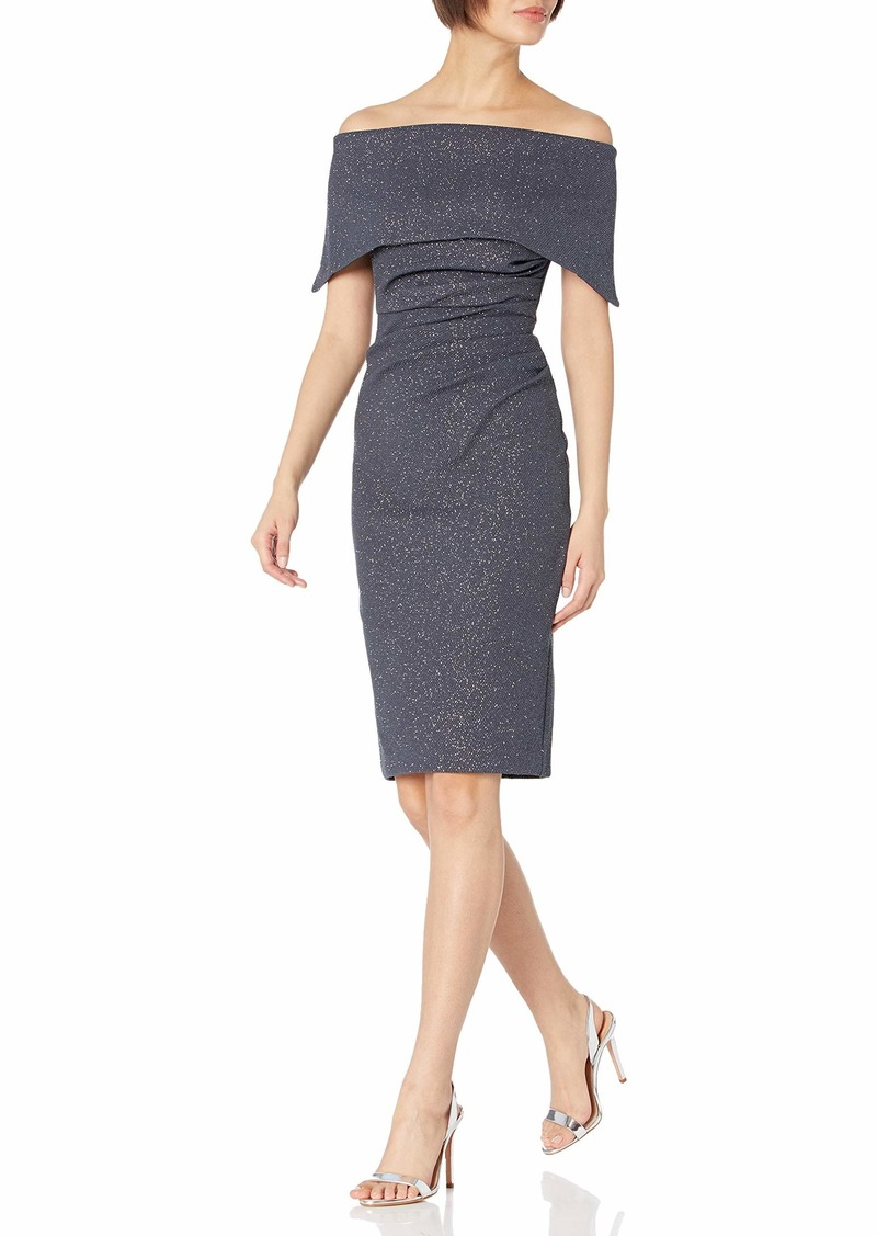 Vince Camuto Women's Glitter Knit Off The Shoulder Sheath Dress
