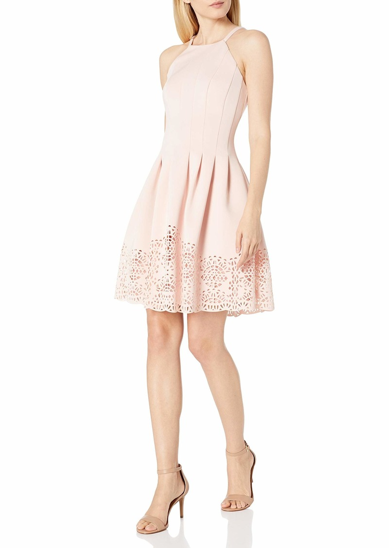 Vince Camuto Women's Halter Fit and Flare Laser Cut Dress (Regular and Plus)