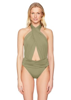 Vince Camuto Women's Halter Neck One Piece Swimsuit with Shirred Waist Detail