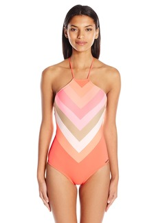 Vince Camuto Women's High Neck One Piece Swimsuit with Lace Back Detail