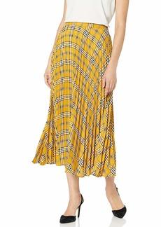 Vince Camuto Women's Highland Plaid Pleated Midi Skirt
