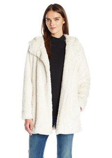 VINCE CAMUTO Women's Hooded Faux Fur Zip Coat