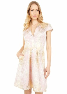 Vince Camuto Women's Jacquard Cap Sleeve Fit and Flare
