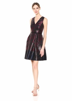 Vince Camuto Women's Jacquard V-Neck Fit and Flare Dress