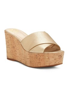 VINCE CAMUTO Women's Kessina Leather & Cork Platform Wedge Slide Sandals