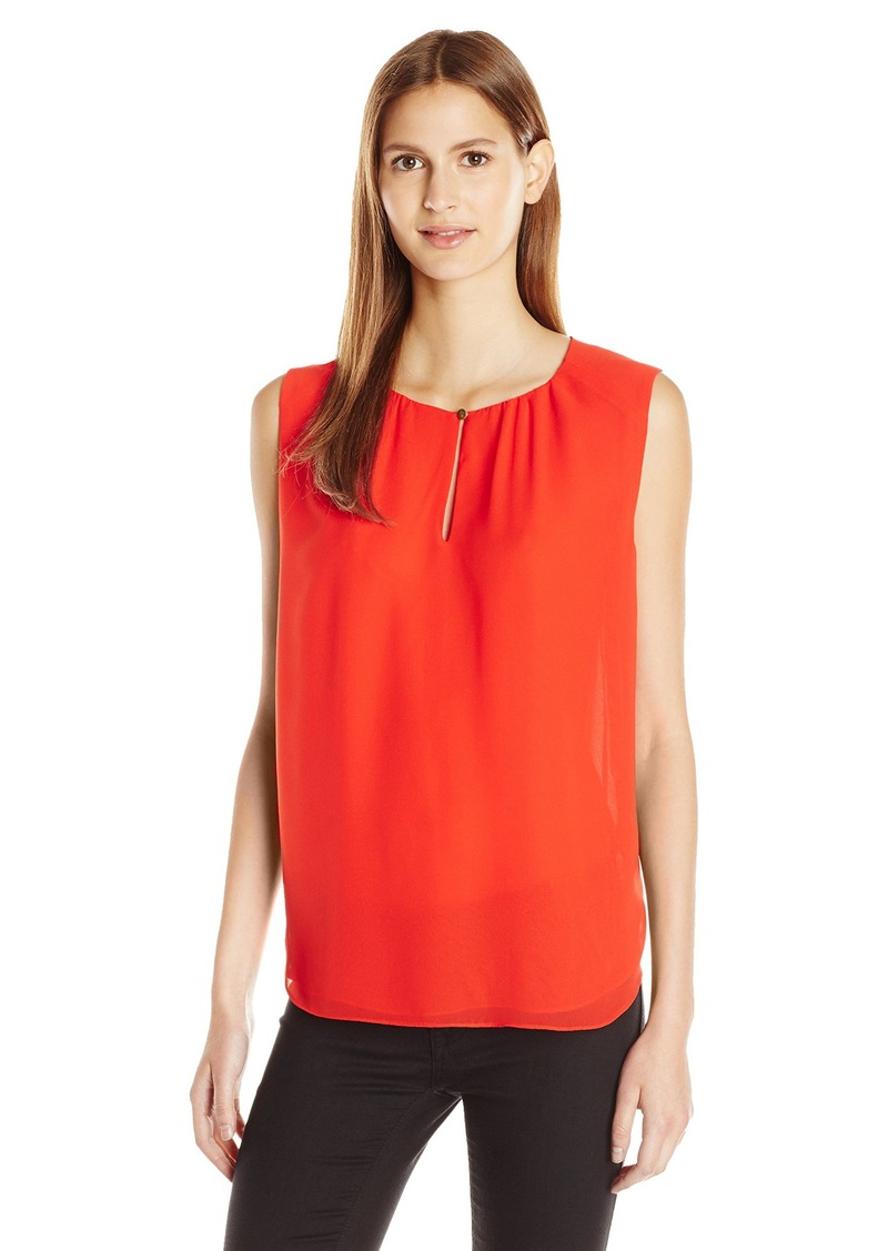 Vince Camuto Women's Keyhole Blouse with Neck Pleats
