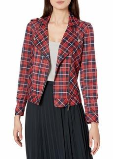 Vince Camuto Women's Knit Plaid Moto Jacket  Extra Large