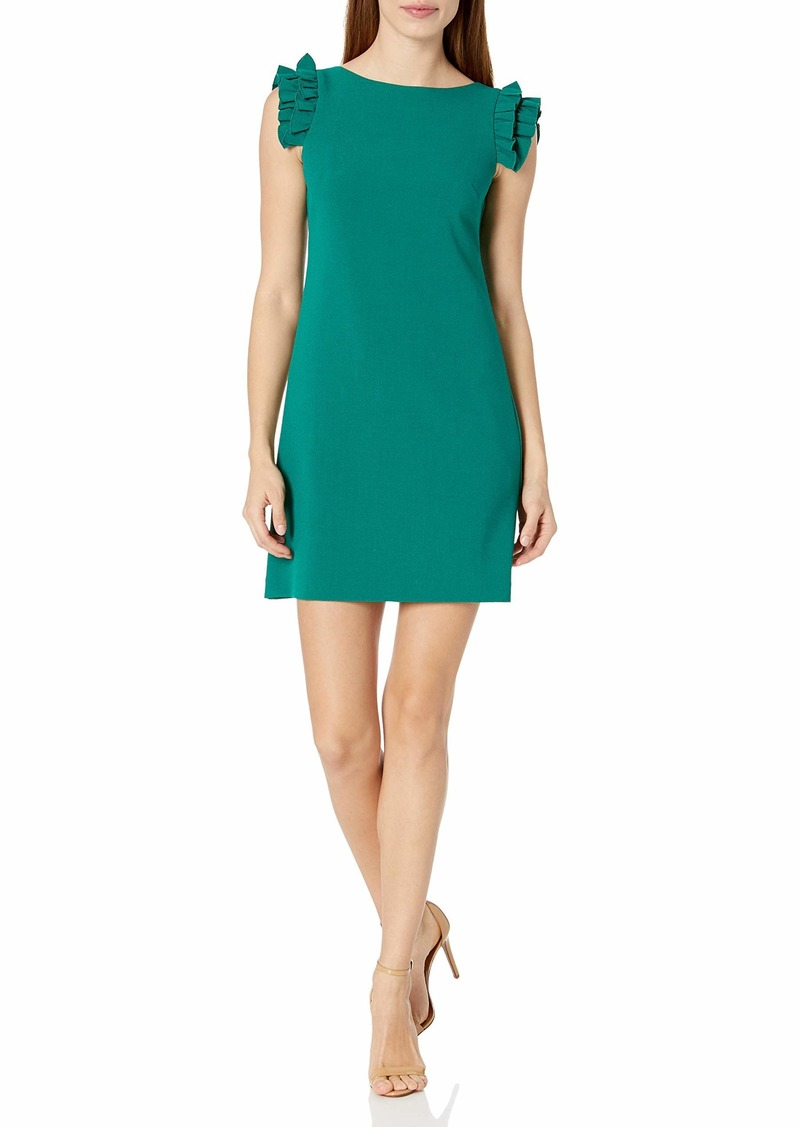 Vince Camuto Women's Kors Crepe Shift Dress with Ruffle Sleeves