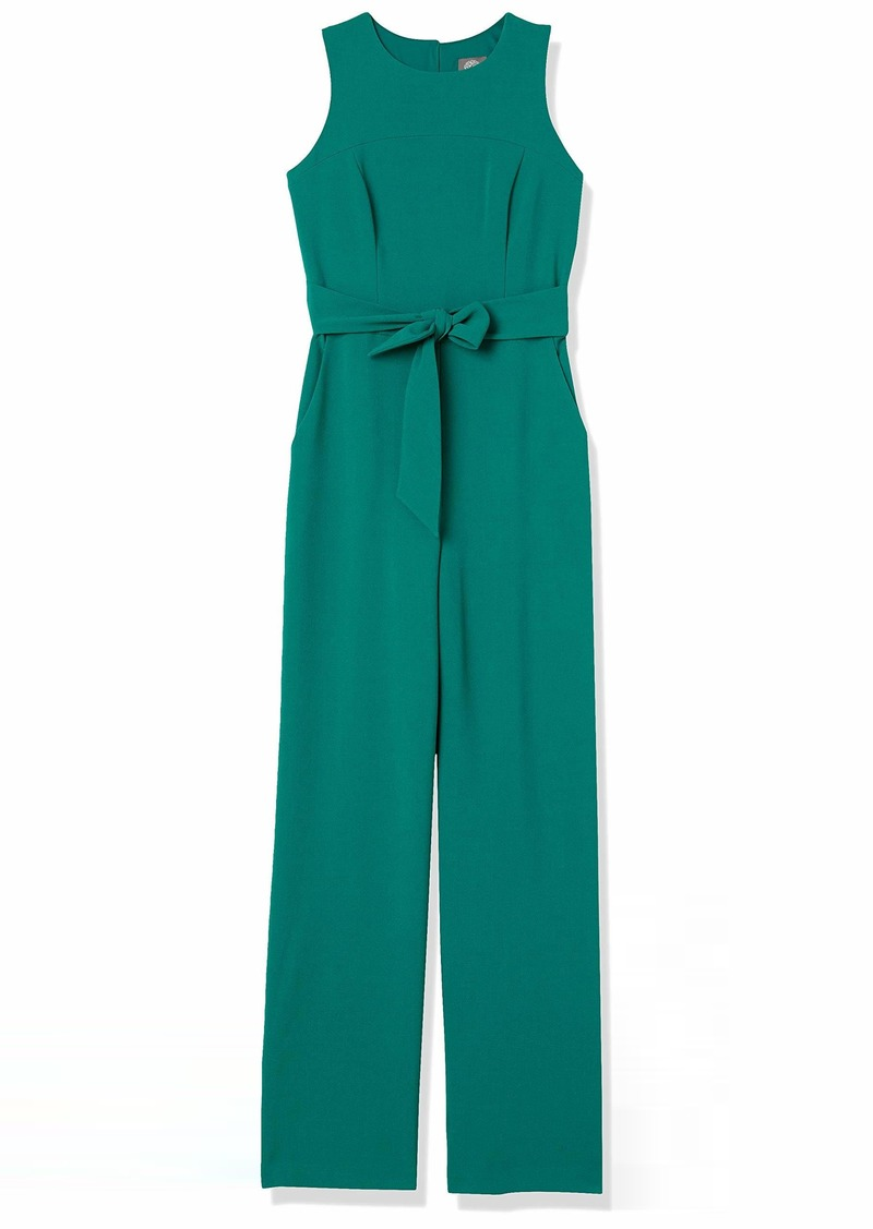 Vince Camuto Women's Kors Crepe Topstitch Jumpsuit with Tied Waist
