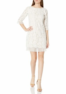 Vince Camuto Women's Lace and Flock Dot Mesh Three Quarter Sleeve Shift