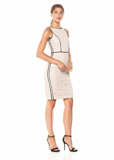 VINCE CAMUTO Women's Lace Bodycon Dress with Piping