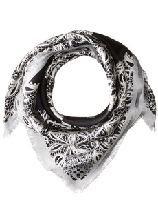 Vince Camuto Women's Lace Crossing Square Scarf black Beauty