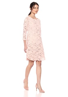 VINCE CAMUTO Women's Lace Shift Ruffle Hem Dress