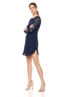 Vince Camuto Women's Lace Shift Ruffle Hem Dress