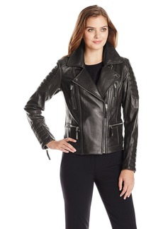 Vince Camuto Women's Leather Moto Jacket with Gold Hardware  X-Small
