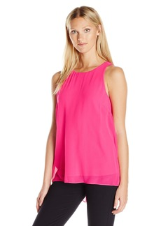 Vince Camuto Women's Sleeveless Blouse with Knit Underlay  S