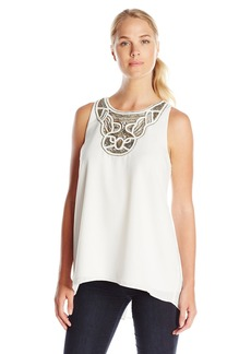 Vince Camuto Women's Sleeveless High Low Hem Blouse with Neck Embroidered  Small
