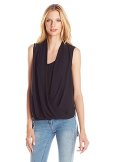 Vince Camuto Women's Sleeveless Solid Wrap Front Shirttail Blouse