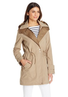 Vince Camuto Women's Lightweight Parka Anorak With Tie Waist and Hood