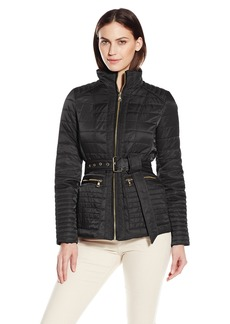 Vince Camuto Women's Lightweight Quilted Jacket with Belt  Medium