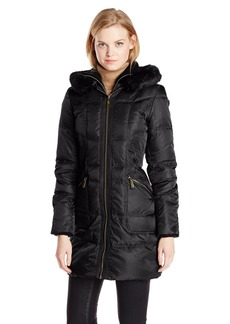 Vince Camuto Women's Long Down Coat with Gold Hardware and Faux Fur Trim  edium