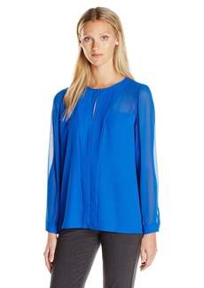 Vince Camuto Women's Long Keyhole Blouse with Chiffon Sleeves  L