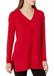 Vince Camuto Women's Long Rib SLV V-Neck Cozy Tunic