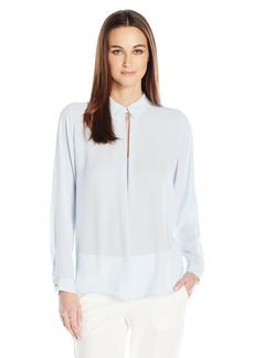 Vince Camuto Women's Long Sleeve Blouse with Front Keyhole