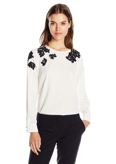 Vince Camuto Women's Long Sleeve Blouse with Sequin Lace Applique  M