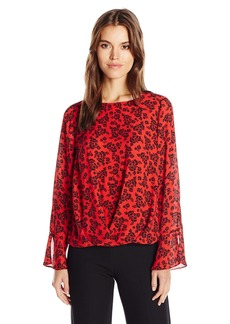 Vince Camuto Women's Long Sleeve Bouquet Stamp Fold Over Blouse  S