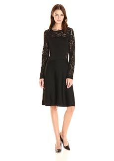 Vince Camuto Women's Long Sleeve Burnout Flare Sweater Dress  L